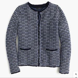 J. Crew tweed jacket with fringe trim